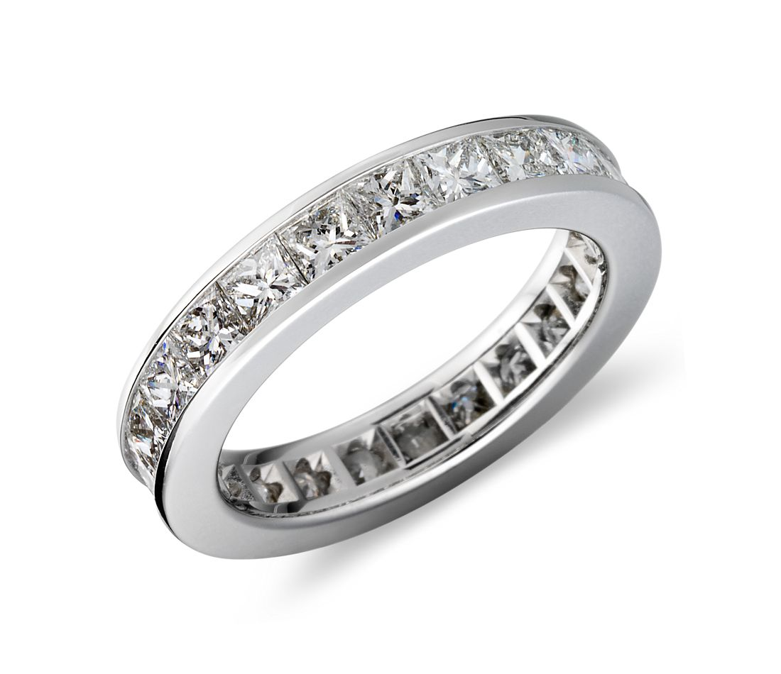 Channel Set Princess Cut Diamond Eternity Ring In Platinum