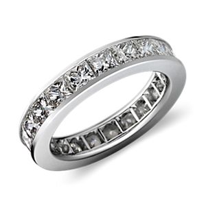 Channel Set Princess Cut Diamond Eternity Ring in Platinum (4 ct. tw.)