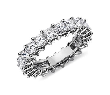 鉑金公主方形鑽石永恆戒指( 4 克拉總重量)