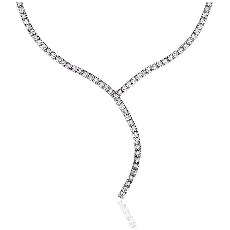 Diamond Eternity Y-Necklace in 18k Italian White Gold (2 ct. tw.)