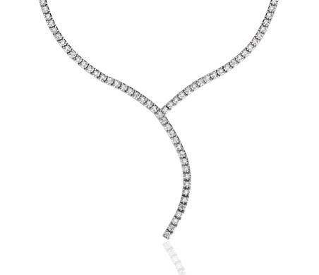 """Collar de eternidad de diamantes en forma de """"Y"""" en oro blanco italiano de 18k (2 qt. total)"""