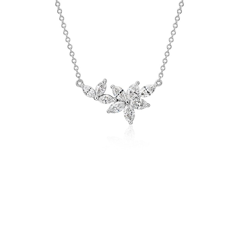 Monique Lhuillier Etoile Marquise Diamond Necklace in 18k White G