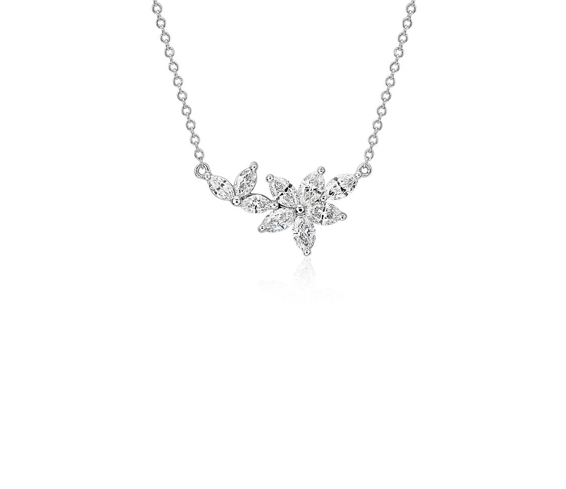 Monique Lhuillier Etoile Marquise Diamond Necklace in 18k White Gold