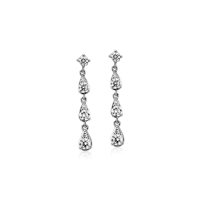 Diamond Fancy Shape Drop Earrings in 14k White Gold (3/8 ct. tw.)