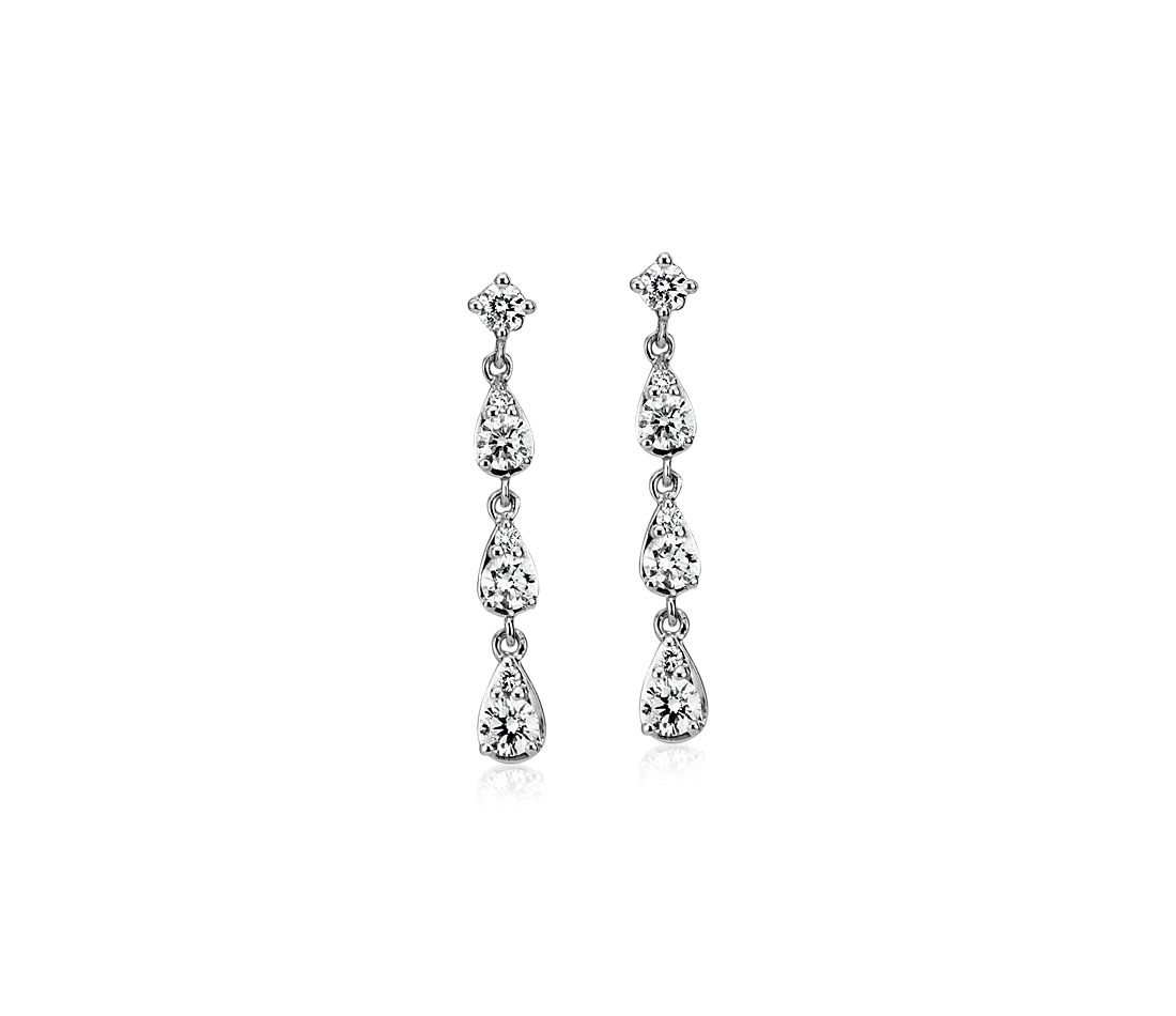 Diamond Fancy Shape Drop Earrings in 14k White Gold (0.46 ct. tw.)