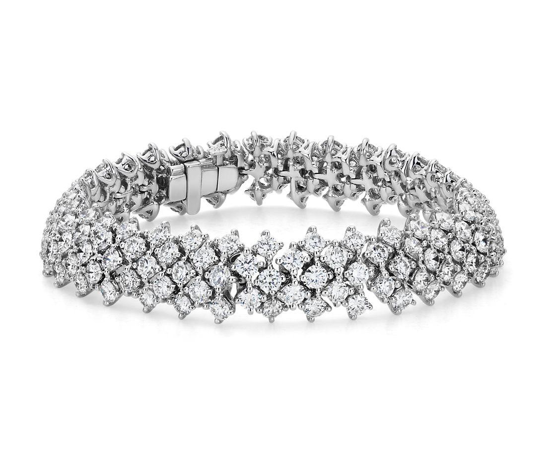 Bracelet d'éternité souple en diamants en or blanc 18carats (13,26carats, poids total)