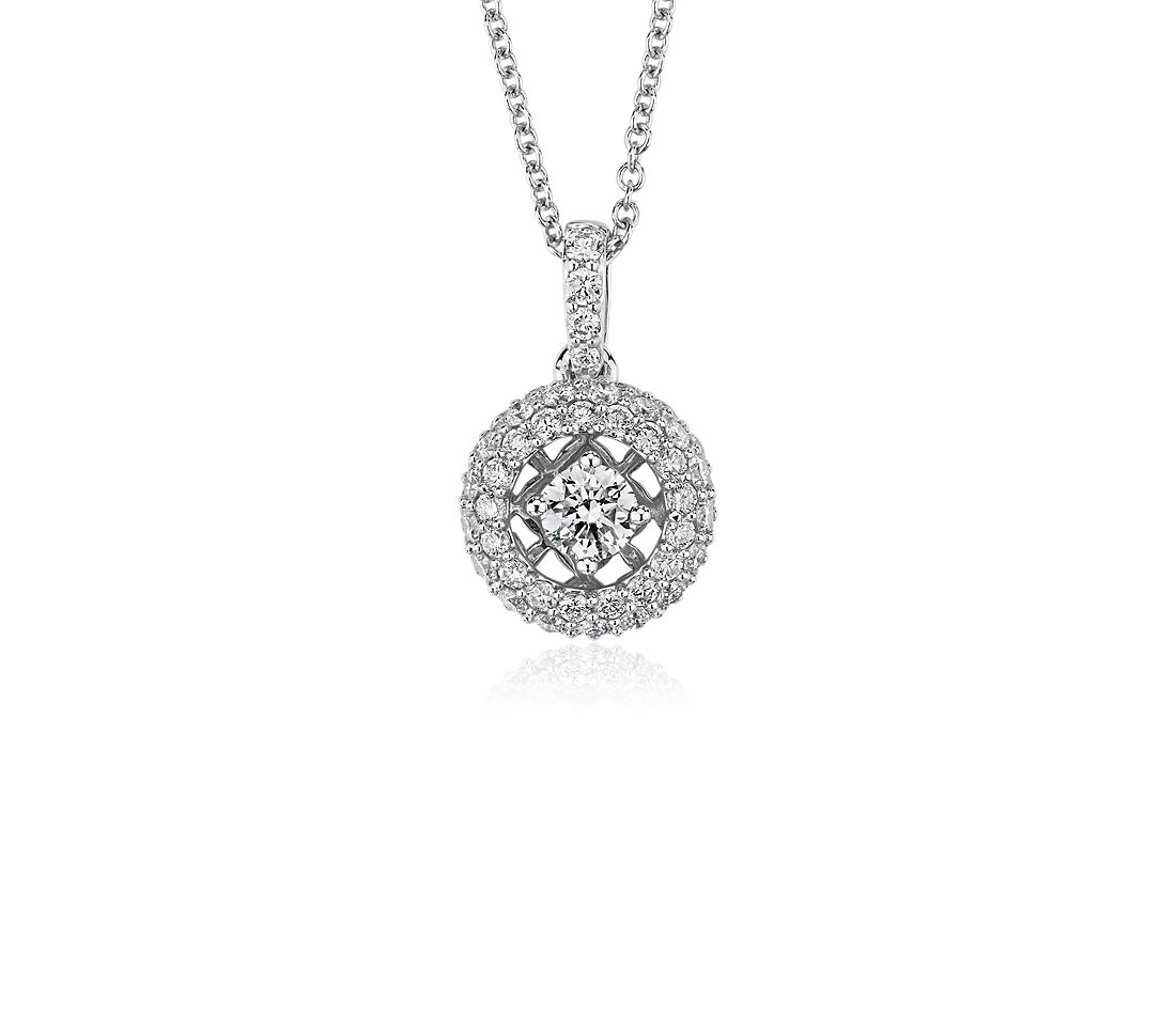 Floating Diamond Halo Pendant in 14k White Gold (1 cttw)