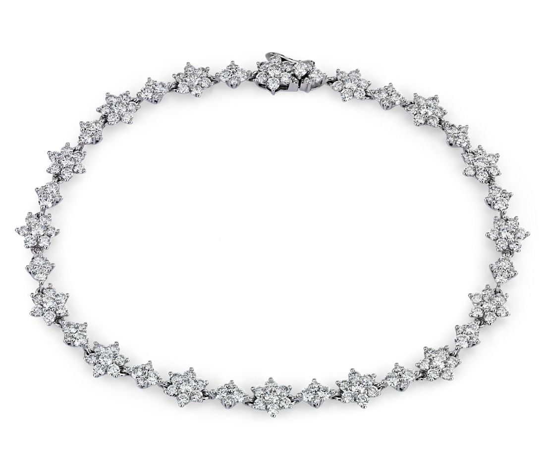 Diamond Floral Bracelet in 14k White Gold (3 3/5 ct. tw.)