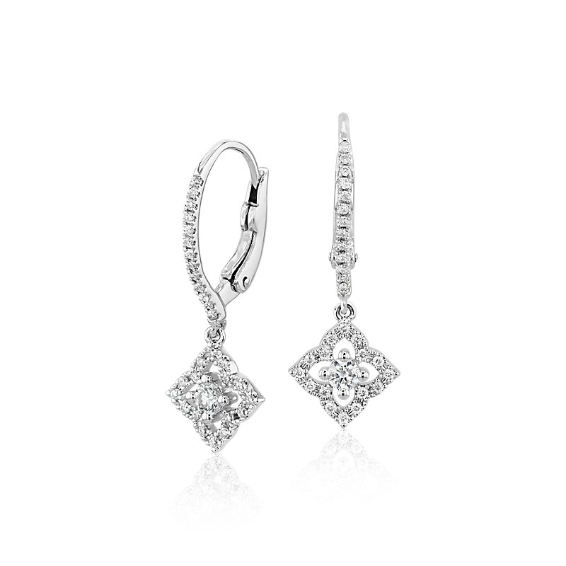 Petite Diamond Floral Drop Earrings in 14k White Gold (1/4 ct. tw