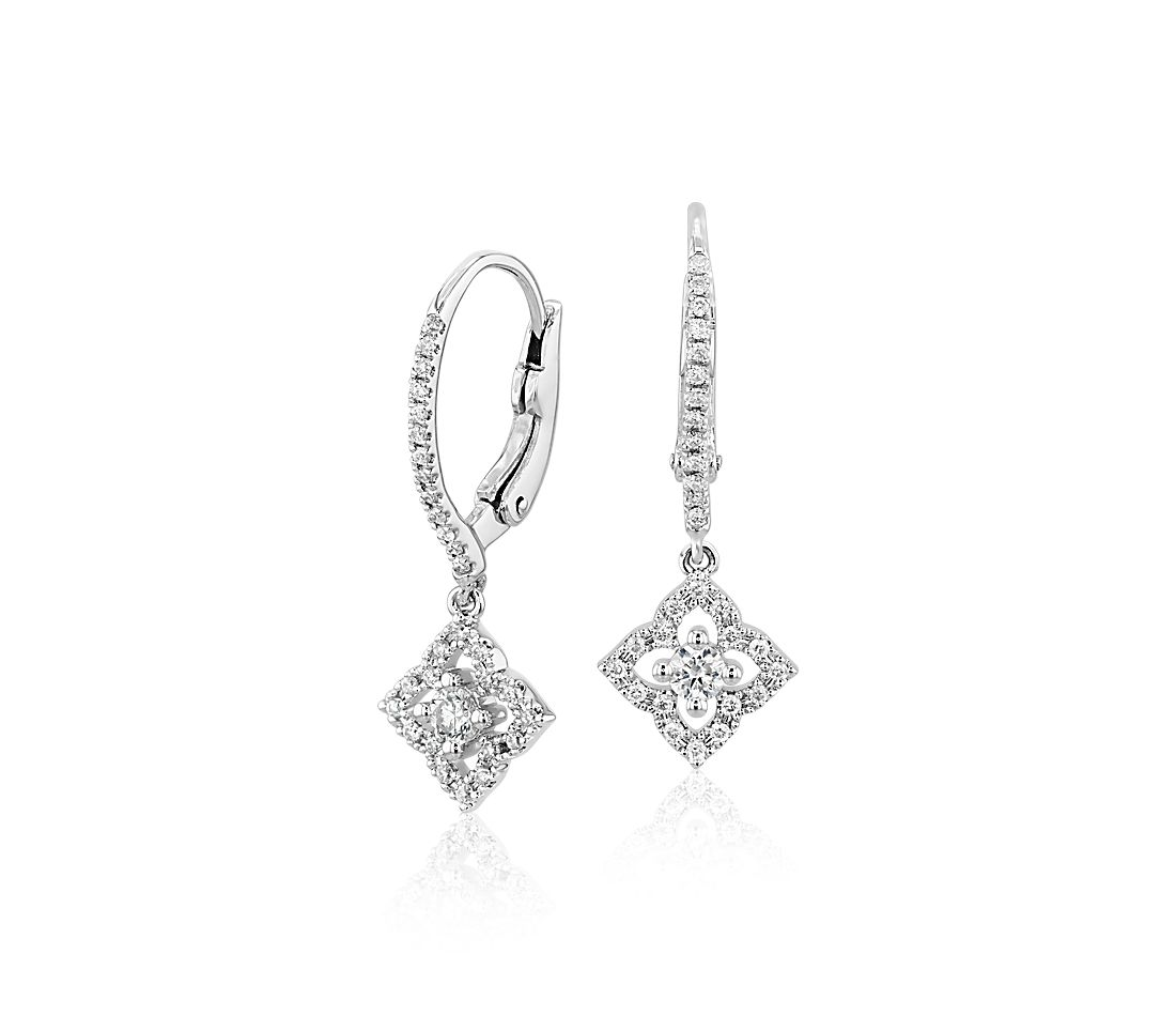 Petite Diamond Floral Drop Earrings in 14k White Gold