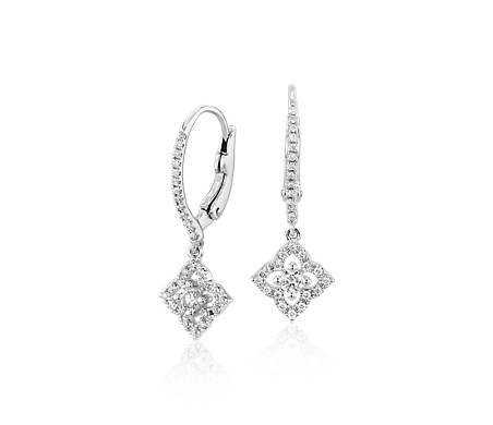 Petite Diamond Floral Drop Earrings in 14k White Gold (1/4 ct. tw.)