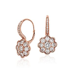 Blue Nile Studio Diamond Floral Drop Earrings in 18k Rose Gold (1.39 ct. tw.)