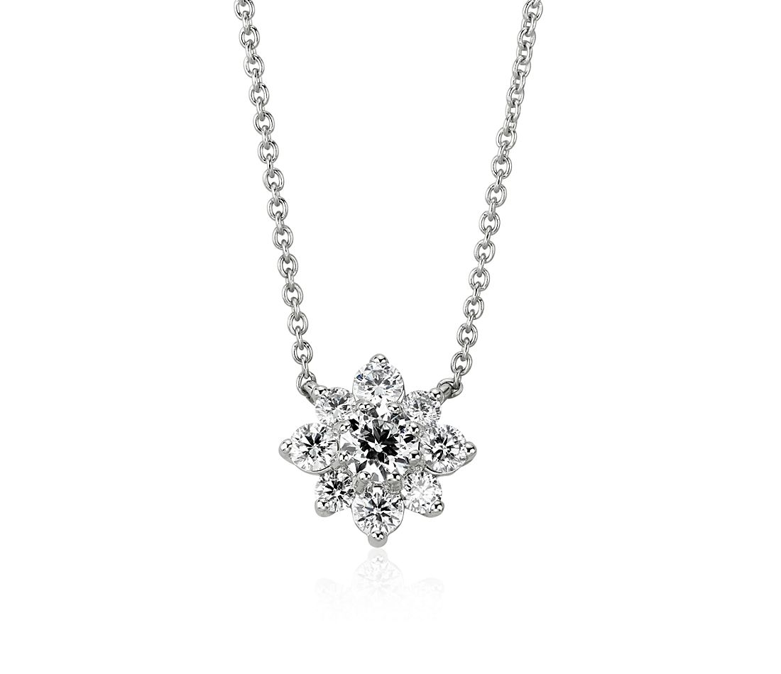 Diamond Floral Necklace in 14k White Gold (1/2 ct. tw.)