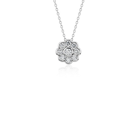 Blue Nile Studio Diamond Floral Pendant in 18k White Gold (3/4 ct. tw.)