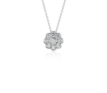 Pendentif floral en diamant Blue Nile Studio en or blanc 18carats (3/4carat, poids total)