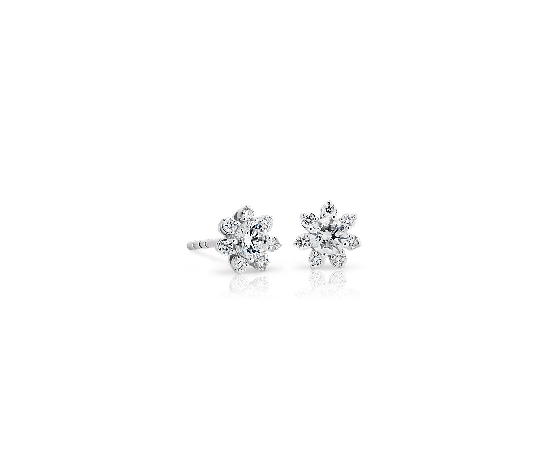 Petite Diamond Floral Stud Earring in 14k White Gold (0.41ct. tw.)