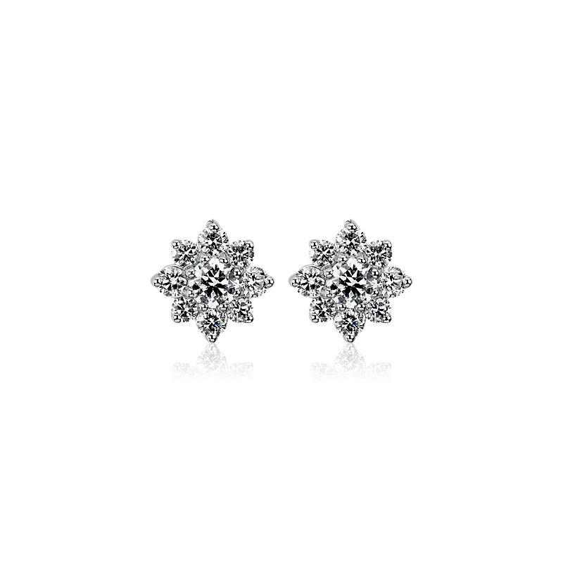Diamond Floral Stud Earrings in 14k White Gold (1 1/6 ct. tw.)