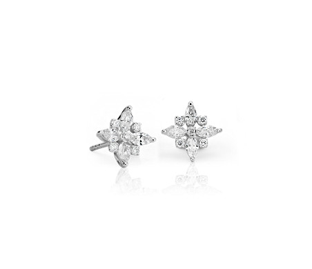 Diamond Floral Stud Earrings in 14k White Gold (2/5 ct. tw.)