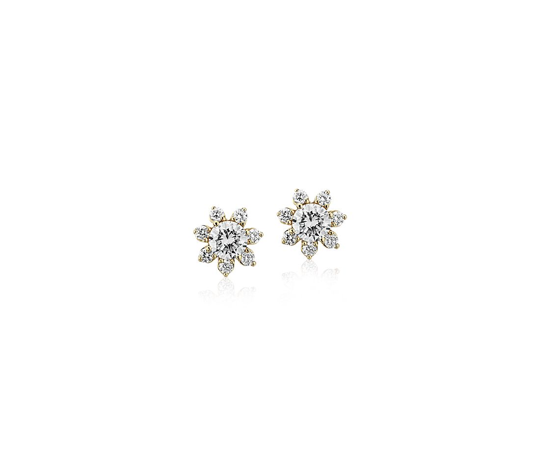 Diamond Floral Stud Earrings in 14k Yellow Gold (3/8 ct. tw.)