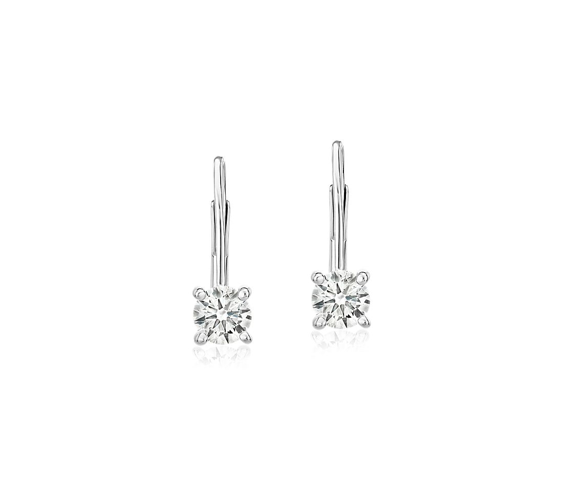 Diamond Four-Prong Drop Earring in 14k White Gold (1 ct. tw.)