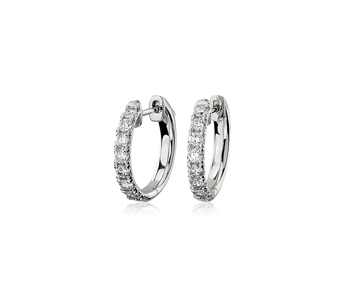 Diamond French Pavé Hoop Earrings in 14k White Gold (3/4 ct. tw.)
