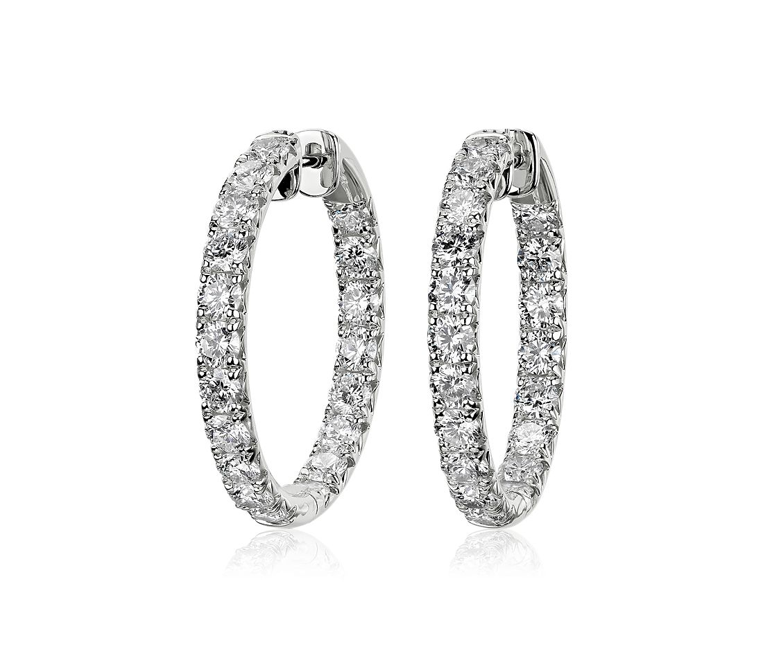 Diamond French Pavé Inside Out Hoop Earrings in 14k White Gold (3.46 ct. tw.)