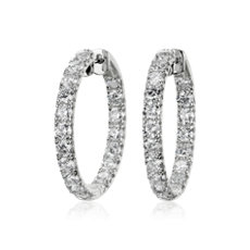 Diamond French Pavé Inside Out Hoop Earrings in 14k White Gold (3 1/2 ct. tw.)