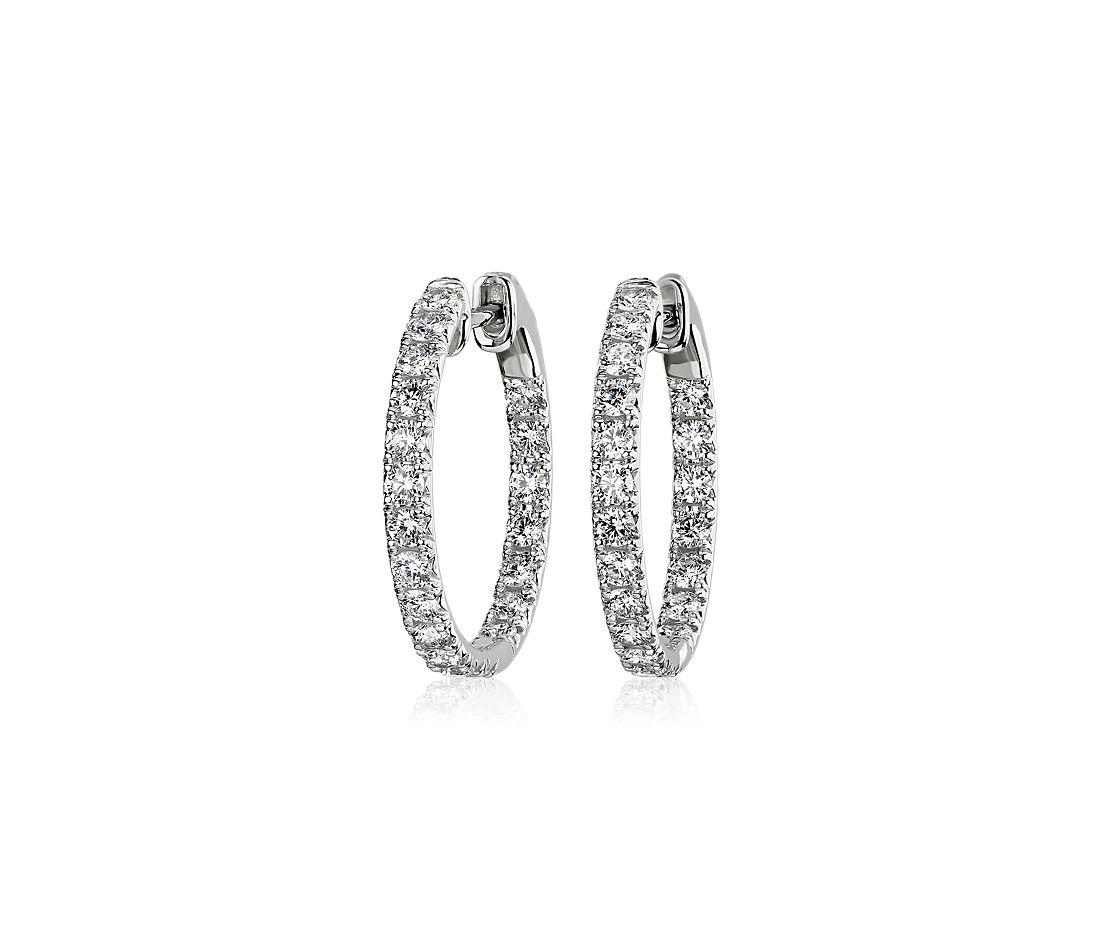 Diamond French Pavé Inside Out Hoop Earrings in 14k White Gold (1 ct. tw.)