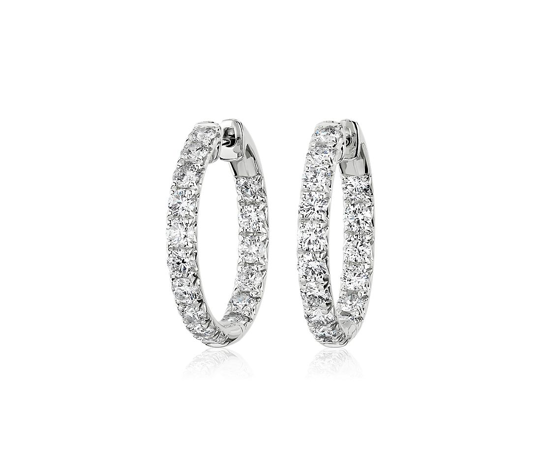 Diamond French Pavé Inside Out Hoop Earrings in 14k White Gold (2.56 ct. tw.)