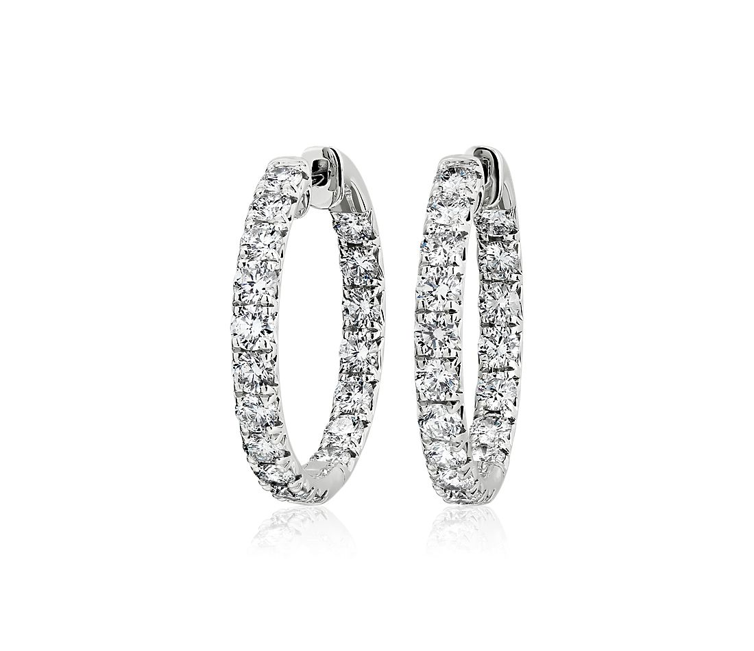 Diamond French Pavé Inside Out Hoop Earrings in 14k White Gold (4.94 ct. tw.)