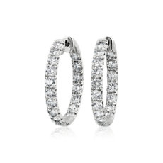 NEW Diamond French Pavé Inside Out Hoop Earrings in 14k White Gold (5 ct. tw.)