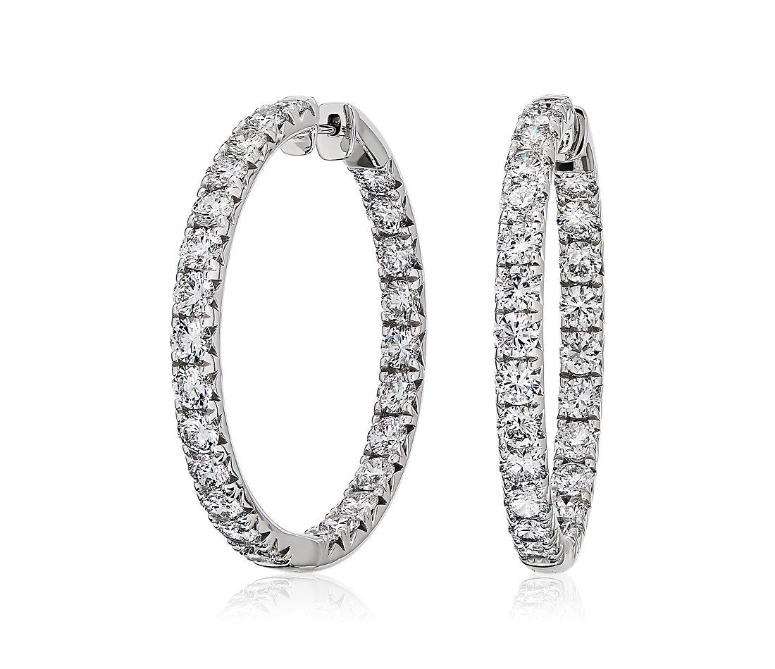Diamond French Pavé Inside Out Hoop Earrings in 14k White Gold (7.48 ct. tw.)