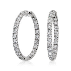 NEW Diamond French Pavé Inside Out Hoop Earrings in 14k White Gold (7 1/2 ct. tw.)