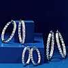 14k 白金钻石法式密钉由内而外圈形耳环(9 1/2 克拉总重量) 第一另类视图
