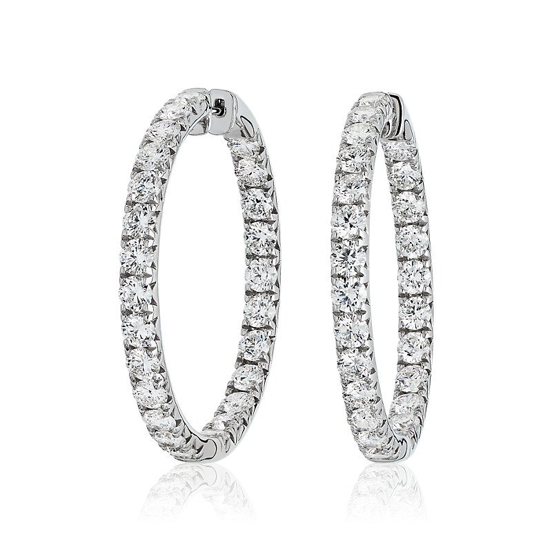 Diamond French Pavé Inside Out Hoop Earrings in 14k White