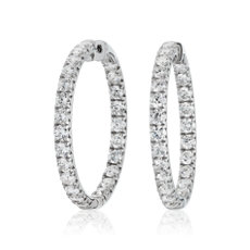 NEW Diamond French Pavé Inside Out Hoop Earrings in 14k White Gold (9 1/2 ct. tw.)