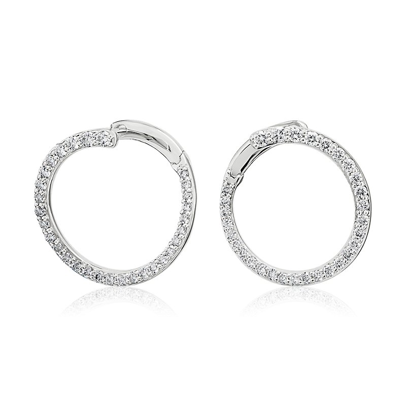 Diamond Front-Back Circle Hoop Earrings in 14K White Gold (5/8 ct