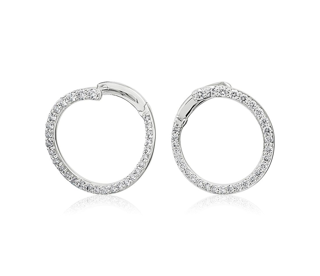 Diamond Front-Back Circle Hoop Earrings in 14K White Gold (5/8 ct. tw.)