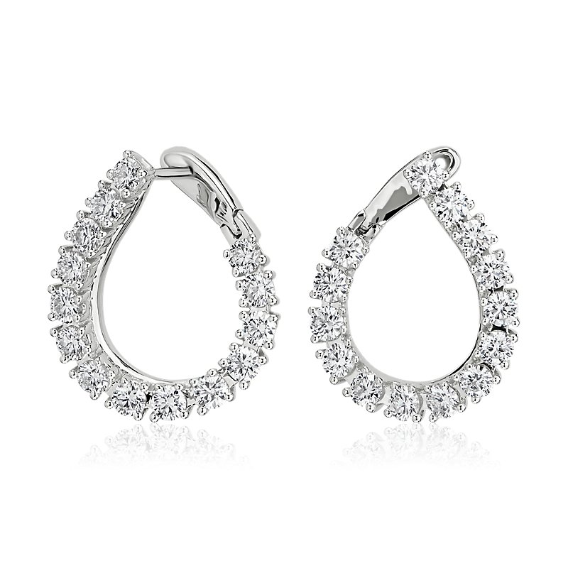 Diamond Front-Back Pear Shape Hoop Earrings in 14k White Gold (2