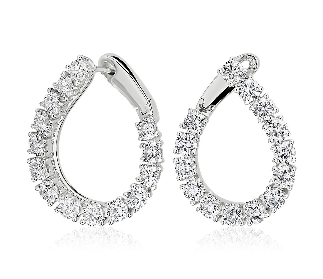 Diamond Front-Back Pear Shape Hoop Earrings in 18k White Gold (5 3/8 ct. tw.)