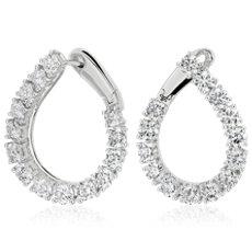 Créoles forme poire avant-arrière en diamant en or blanc 18carats (53/8carats, poids total)