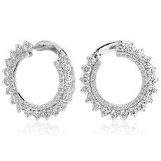14k 白金前後旭日鑽石圈形耳環(3 1/2 克拉總重量)
