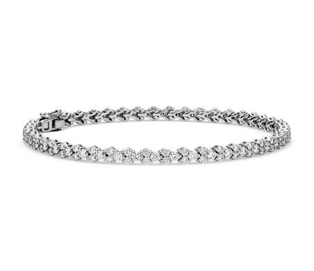 Brazalete de tenis con forma de guirnalda de diamante en oro blanco de 18 k (3,5 qt. total)