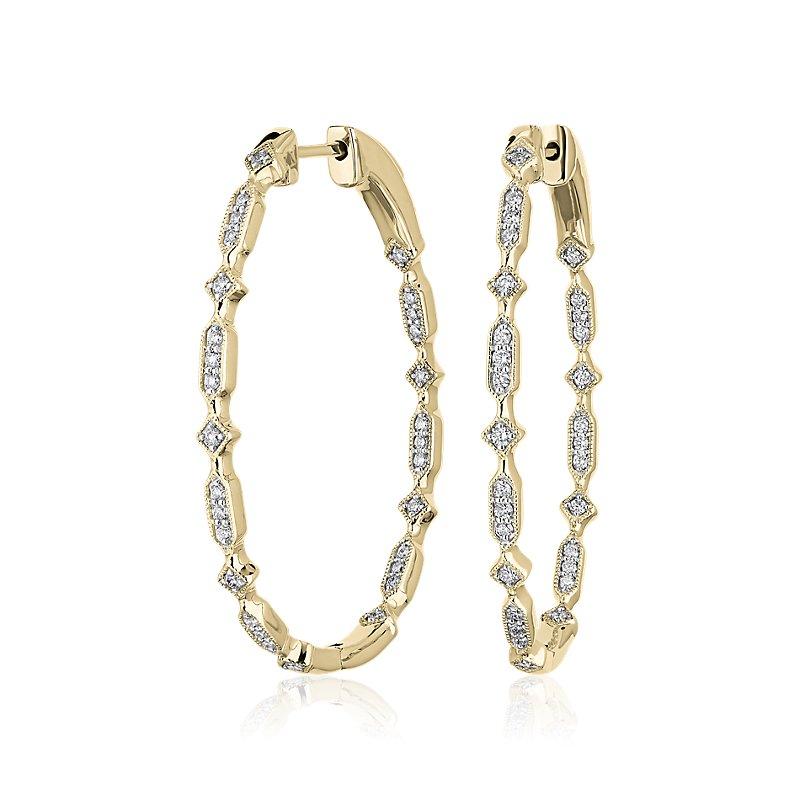 Diamond Geometric Shape Eternity Hoop Earrings in 14k Yellow Gold