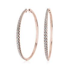 新款 14k 玫瑰金大小漸變鑽石圈形耳環 (1 克拉總重量)