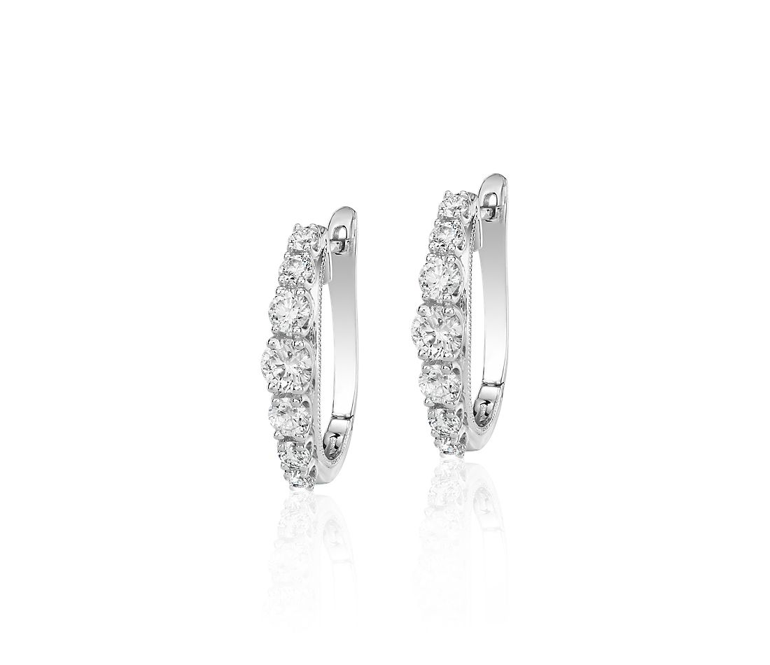 Diamond Graduated Milgrain Hoop Earrings in 14k White Gold (1 ct. tw.)