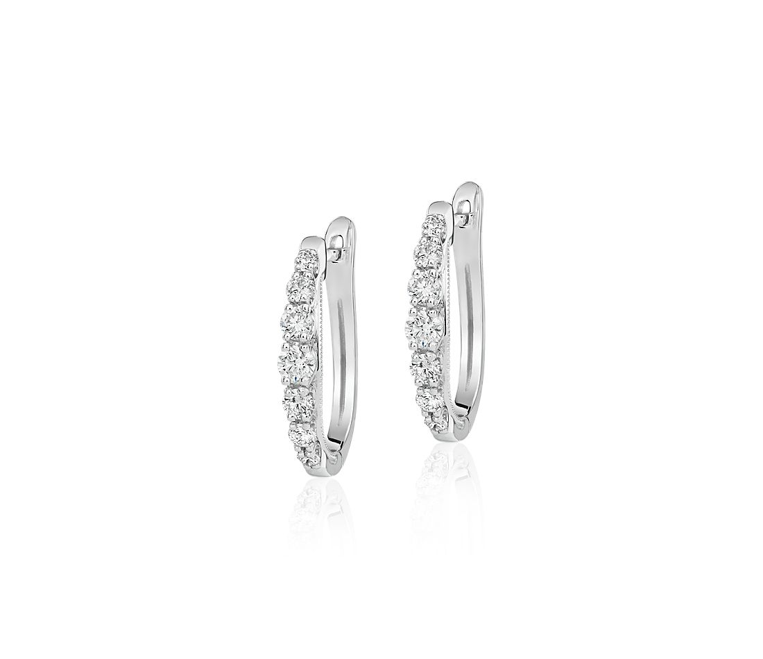 Diamond Graduated Milgrain Hoop Earrings in 14k White Gold (1/2 ct. tw.)