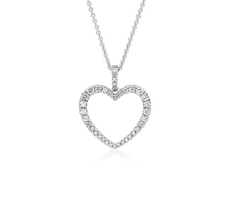Blue Nile Diamond Twist Pave Heart Pendant in 14k White Gold 8DXf8