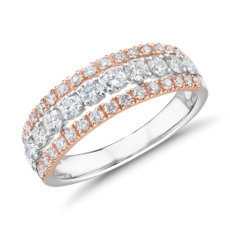 Diamond Graduated Triple Row Fashion Ring in 14k White and Rose Gold (1 ct. tw.)