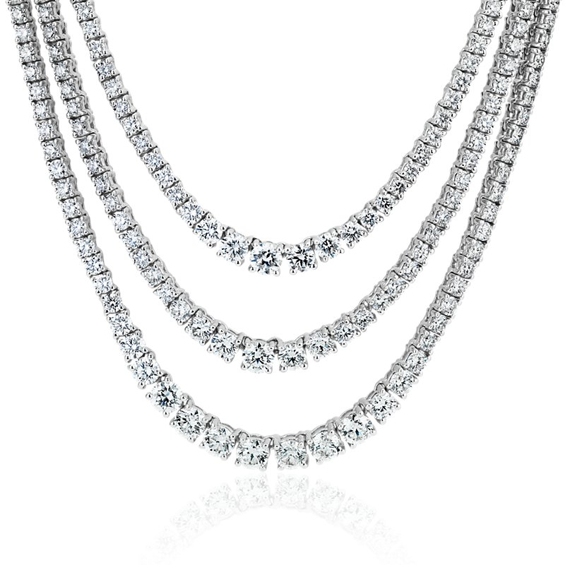 Diamond Graduated Triple Row Necklace in 14k White Gold (12 1/2 c